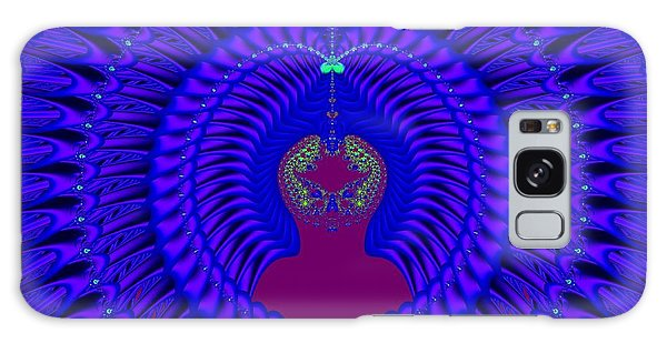 Galaxy Case featuring the digital art Blue Peacock Fractal 92 by Rose Santuci-Sofranko