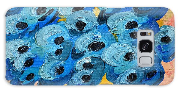 Blue Poppies In Square Vase  Galaxy Case