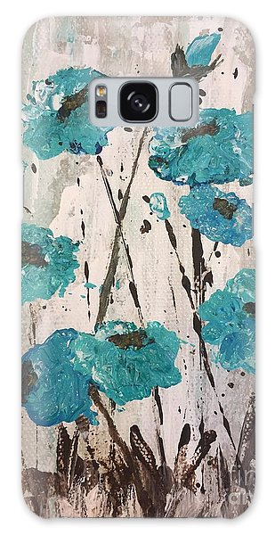 Blue Poppies Galaxy Case by Lucia Grilletto