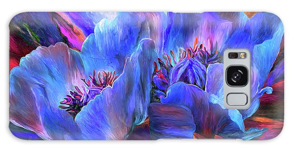 Galaxy Case featuring the mixed media Blue Poppies On Red by Carol Cavalaris