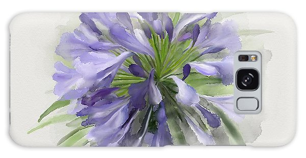 Galaxy Case featuring the painting Blue Purple Flowers by Ivana Westin