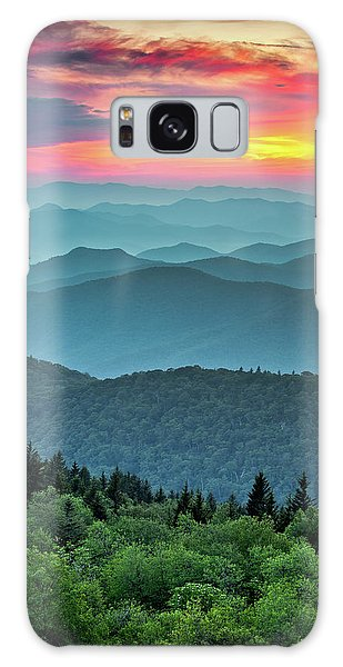 Blue Ridge Parkway Sunset - The Great Blue Yonder Galaxy Case