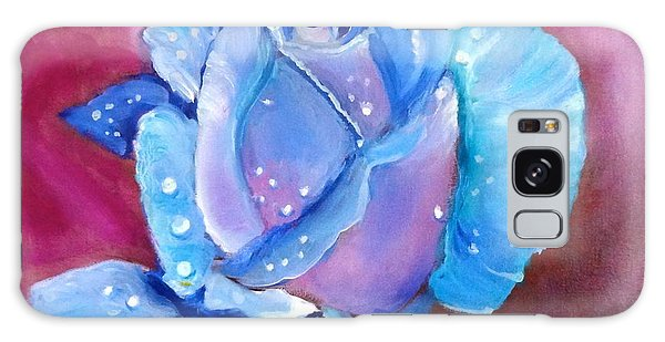 Blue Rose With Dew Drops Galaxy Case