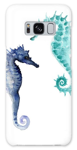 Blue Seahorses Watercolor Painting Galaxy Case by Joanna Szmerdt