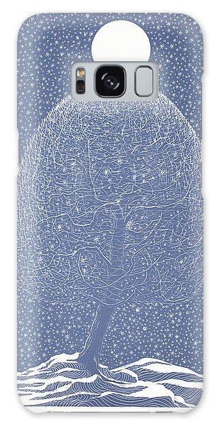 Blue Shadow Tree Galaxy Case