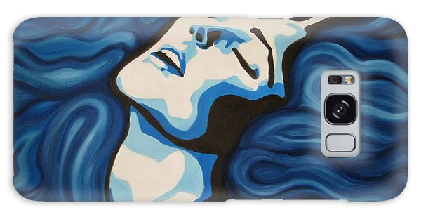 Blue Shimmers Galaxy Case by Jindra Noewi