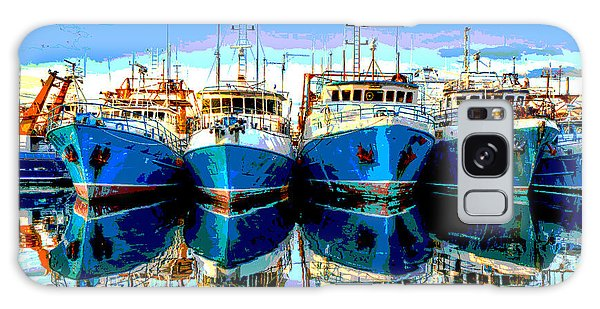 Blue Shrimp Boats Galaxy Case by Charles Shoup