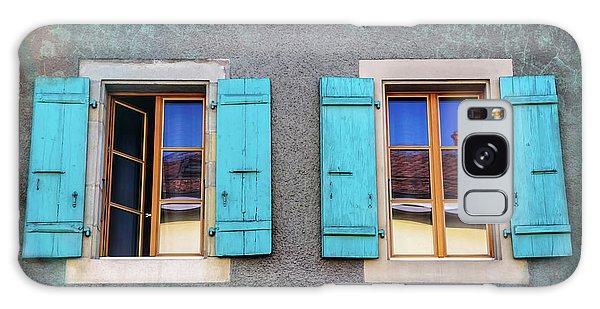 Blue Shuttered Windows In Carouge Geneva  Galaxy Case