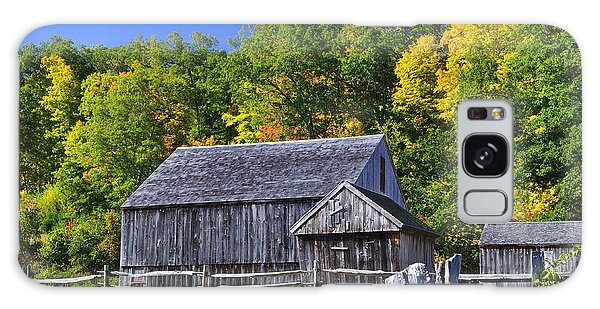 Blue Sky Autumn Barn Galaxy Case