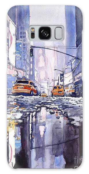 New York City Taxi Galaxy Case - Blue Skyscrapers by Suzann Sines