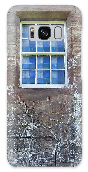 Galaxy Case featuring the photograph Blue Squares In The Castle Window by Christi Kraft