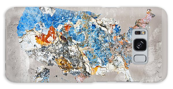 Usa Map Galaxy Case - Blue Street Art Us Map by Delphimages Photo Creations