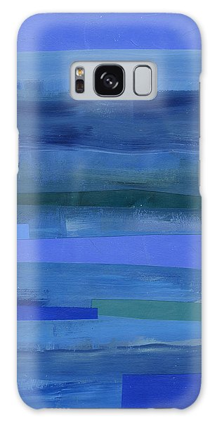 Blue Stripes 1 Galaxy Case by Jane Davies
