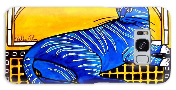 Blue Tabby - Cat Art By Dora Hathazi Mendes Galaxy Case by Dora Hathazi Mendes