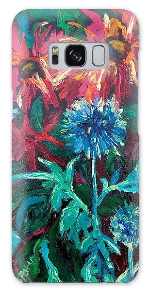 Blue Thistle And Bee Balm Galaxy Case by Susan  Spohn