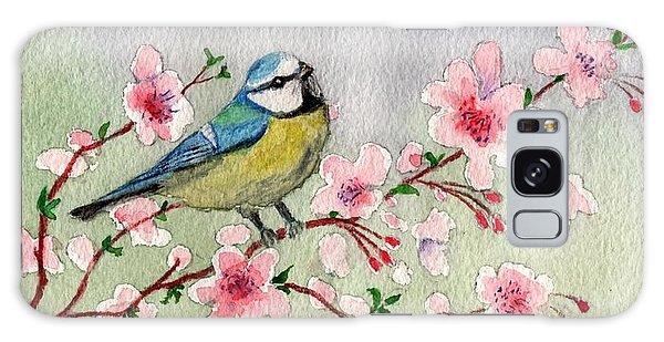 Blue Tit Bird On Cherry Blossom Tree Galaxy Case