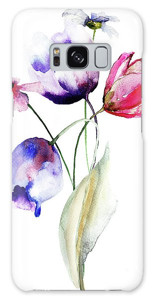 Blue Tulips Flowers With Wild Flowers Galaxy Case