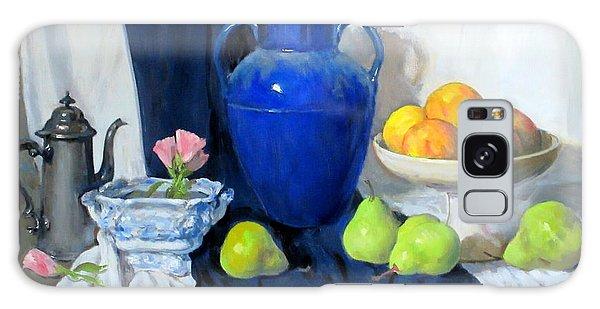Blue Vase, Peaches, Pears, Lisianthus, Silver Coffeepot Galaxy Case