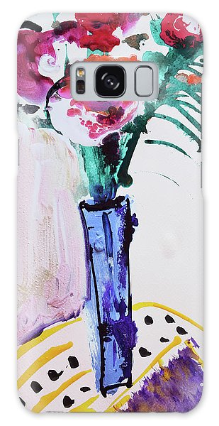 Blue Vase With Red Wild Flowers Galaxy Case