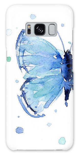 Insects Galaxy Case - Blue Watercolor Butterfly by Olga Shvartsur