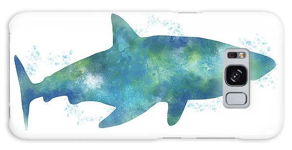 Swimming Galaxy Case - Blue Watercolor Shark- Art By Linda Woods by Linda Woods