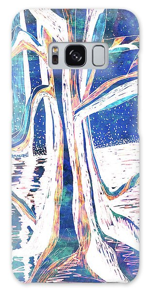 Blue-white Full Moon River Tree Galaxy Case