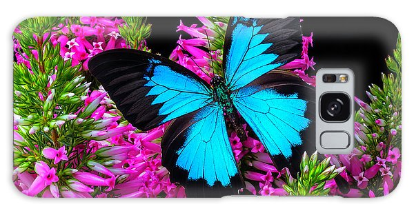 Heather Galaxy Case - Blue Wings On Pink Flowers by Garry Gay
