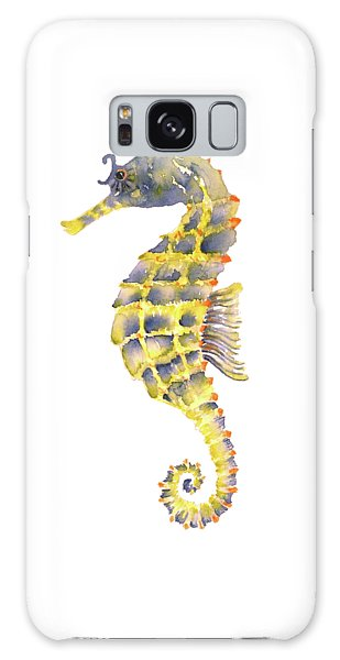 Blue Yellow Seahorse - Square Galaxy Case by Amy Kirkpatrick