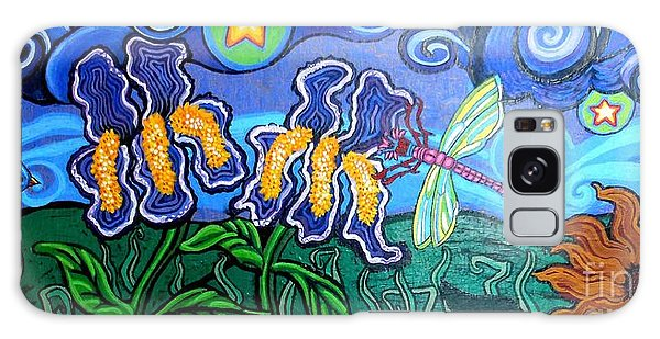 Bluebird Galaxy Case - Bluebird Dragonfly And Irises by Genevieve Esson