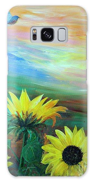 Bluebird Flying Over Sunflowers Galaxy Case