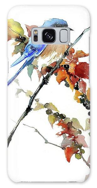 Eastern Bluebird Galaxy Case - Bluebird In The Fall by Suren Nersisyan