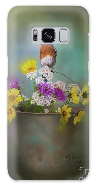 Eastern Bluebird Galaxy Case - Bluebird With Bucket Of Flowers by Lena Auxier