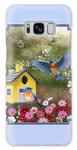 Bluebird Galaxy Case - Bluebirds And Yellow Birdhouse by Crista Forest