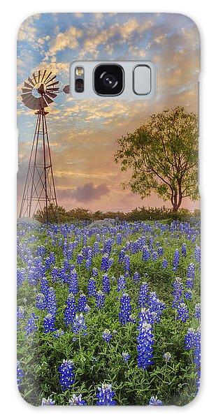 Texas Galaxy Case - Bluebonnets Beneath A Windmill 2 by Rob Greebon