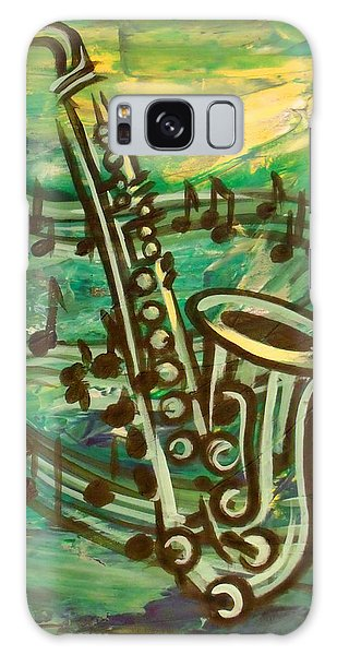 Blues Solo In Green Galaxy Case by Evie Cook