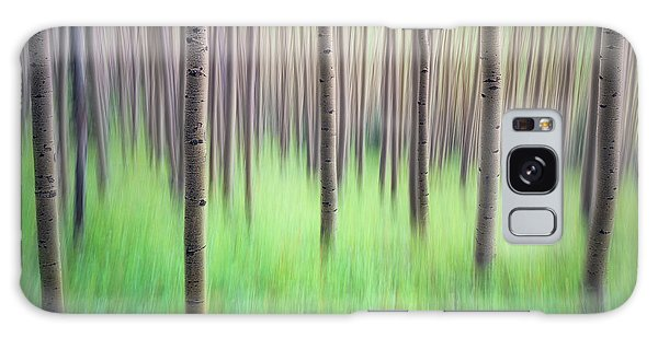Blurred Aspen Trees Galaxy Case