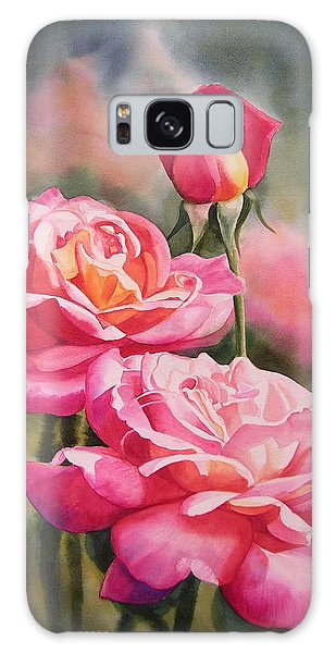 Pink Flower Galaxy Case - Blushing Roses With Bud by Sharon Freeman
