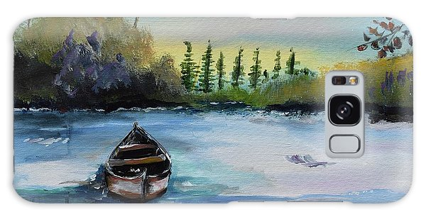 Galaxy Case featuring the painting Boat Abandoned On The Lake by Jan Dappen