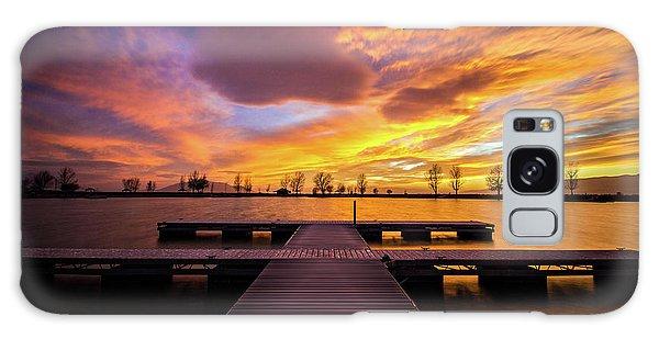 Boat Dock Sunset Galaxy Case