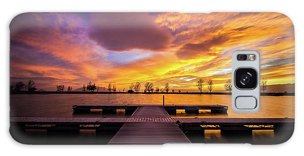 Boat Dock Sunset Galaxy Case