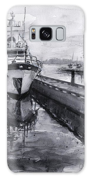 Marina Galaxy Case - Boat On Waterfront Marina Kirkland Washington by Olga Shvartsur