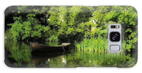 Boat Reflected On Water County Clare Ireland Painting Galaxy Case