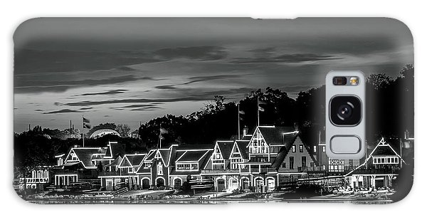 Boathouse Row Philadelphia Pa Night Black And White Galaxy Case
