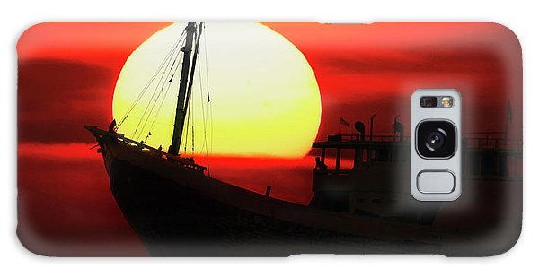 Boatman Enjoying Sunset Galaxy Case