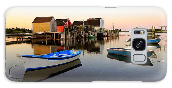 Boats And Fish Shacks At Blue Rocks, Nova Scotia Galaxy Case