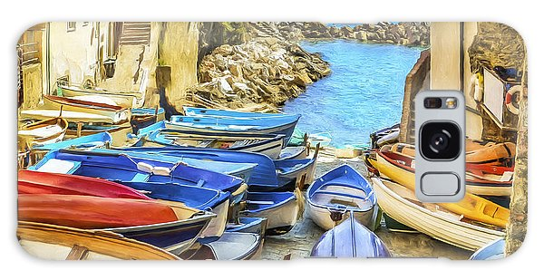 Boats At Cinque Terre Galaxy Case