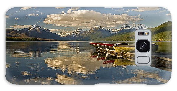 Boats At Lake Mcdonald Galaxy Case by Gary Lengyel