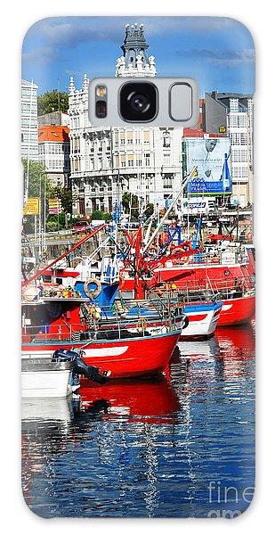 Boats In The Harbor - La Coruna Galaxy Case by Mary Machare