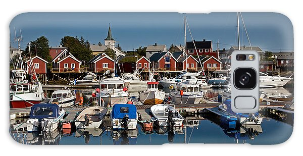 Boats With Reflections In Reine Port Galaxy Case