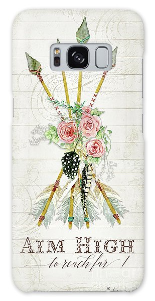 Galaxy Case featuring the painting Boho Western Arrows N Feathers W Wood Macrame Feathers And Roses Aim High by Audrey Jeanne Roberts